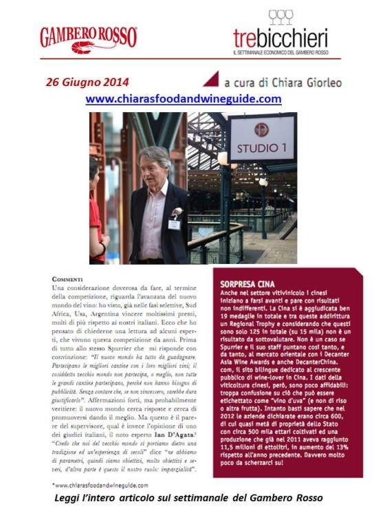 a report about decanter released by gambero rosso